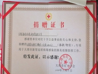 """12bet备用网站省大理市红十字会""捐赠证书"